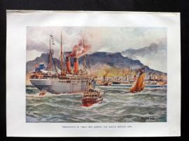 Cassell 1902 Print. Transporting in Table Bay during the South African Boer War